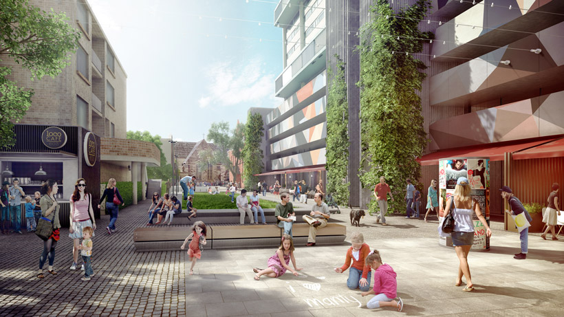 Short Street's potential is revealed with an open vista, green walls and art installations.
