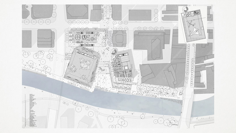 The mis-alignment and erosion of the river promenade aims to slow down the pedestrian flow, creating a public eddy at the River Square. The River Square with waterplay and civic water elements is an attraction for the whole community.