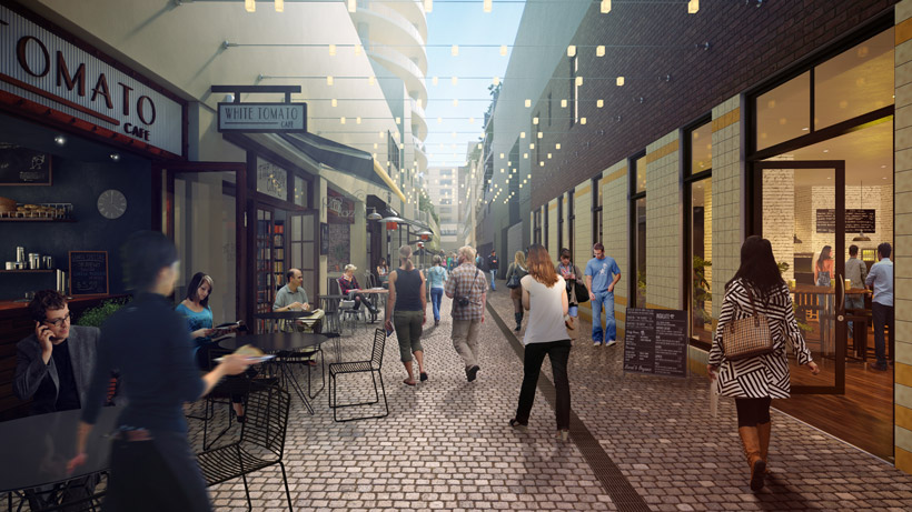 Henrietta Lane opens up with shops and cafes trading directly onto the laneway.
