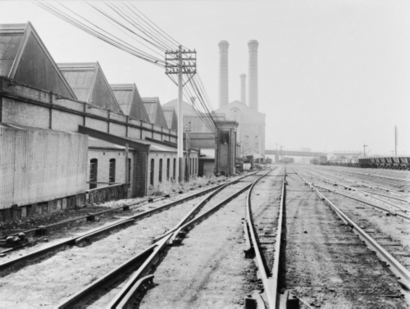Photo of original Goods Line network. The power station that is now the Powerhouse Museum can be seen at the upper centre of the image. Government Printing Office Collection, Mitchell Library, State Library of NSW